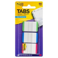 Post-It Tabs, Lined, Green, Blue, Red, 22 each colour, 66 Tabs/Pack Post It Tab 3M Index 686L GBR 25mm GBR