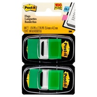 Post-It Flag 3M 680 GN2 Twin Pack Green Post-it® Flags,25mm, 50/Dispenser, 100/Pack