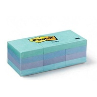 Stick on notes 38x50 Aquatic Colours 3m 653-12AQ 0416998 - pack 12 small post it notes post-it