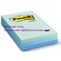 Stick on Notes 101x149 Aqua Colours lined 3M 660-3AQ 0417029 - pack 3
