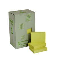 Stick on Notes 38x50mm Yellow 3M Recycled 653RP 0340026 - pack 24 Tower small post it notes post-it