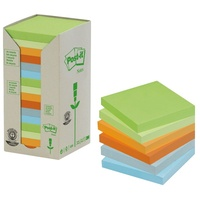 Post It Note 654 RPT Tower 76x76mm Pastel 100 Percent Recycled Pack 16 3M FT510110354