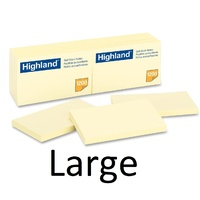 Stick on Notes * 75x125mm Yellow 3M Highland 6559 - pack 12