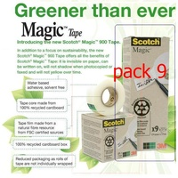 Magic Tape Scotch 900 Recycled 18mm x 33M - pack 9