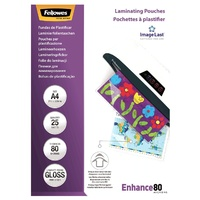 Laminating Pouch A4  80 Micron pack 25 Gloss Fellowes 53962