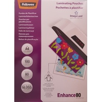 Laminating Pouch A4  80 Micron pack 100 Gloss Fellowes 5306101