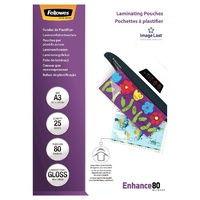 Laminating Pouch A3  80 Micron  Pack 25 Gloss 53964 Fellowes
