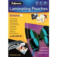 Laminating Pouch A3  80 Micron pack 100 Gloss 53062 Fellowes