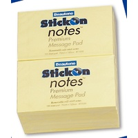 Stick on Notes * 75x125mm Yellow Beautone 11050 - pack 12