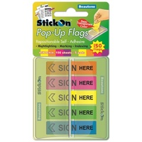 Index Flag Beautone Pop Up Sign Here 15682 45x12mm 150 flags, 5 colours