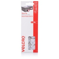 Velcro Spot Hook + Loop White 22mm x 12 Only Dots so 12 sets of 22mm hook and loop