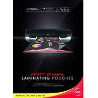 Laminating Pouch A4  80 micron pack 100 Matt Ibico BL80MA4matt MATT FINISH