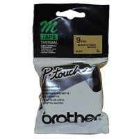 Brother P Touch Tape M821 9mm x 8M Black on Gold Metallic - each