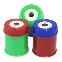Pencil Sharpener round barrel asst colours - pack 3
