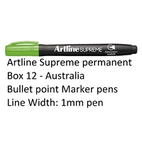 Markers Artline Supreme Permanent Box 12 Lime Green