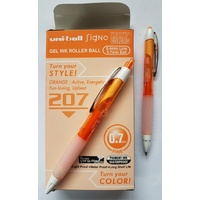 Pen Uniball UMN207 .7 Orange Box 12 Fine Signo Gel Retractable 0.7mm