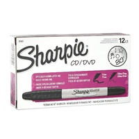Markers Sharpie CD DVD Twin Tip Black Box 12 - each