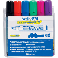 Markers Whiteboard Artline 579 6 pack Chisel 2-5mm Tipped Drysafe Assorted 157946 - wallet 6