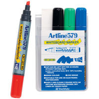 Markers Whiteboard Artline 579 4 pack Chisel 2-5mm Tipped Drysafe 157944