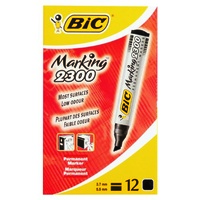 Marker Bic Chisel tip Permanent Black Blue Green or Red- box 12