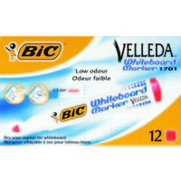 Whiteboard Marker Bullet Red Box 12 Bic Velleda 170103 904939