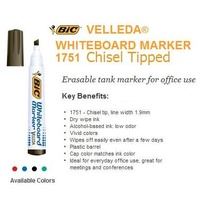 Markers Whiteboard Bic CHISEL tip CHOOSE YOUR COLOUR 1751 - box 12