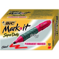 Marker Bic 4 x 4 Grip Chisel Point Mark It Red Box 12 31853
