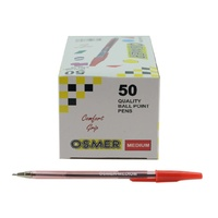 Pen Osmer Medium Ball Pen Red Box 50 like bps