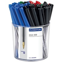 Pen Staedtler Stick 430 Medium Assorted Cup 50