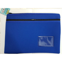 Pencil Case Osmer Neoprene 36.5 x 26cm 2 Zip Name Insert Blue 10509005 NEO362622