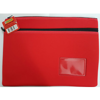 Pencil Case Osmer Neoprene 36.5 x 26cm 2 Zip Name Insert Red 10509006 NEO352623
