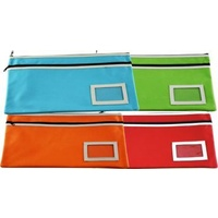 Pencil Case Osmer Polyester 35 x 26cm 2 Zip Name Insert Assorted POL3256