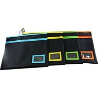 Pencil Case Osmer Polyester 35 x 18cm 2 Zip Name Insert Black Neon Trim POLB3518