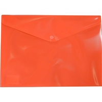 Document Wallet A4 Plastic With Button Orange - Press button closure