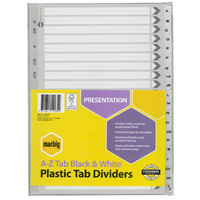 Dividers Plastic Tab Black and White A4 Board A-Z Reinforced Tab Marbig 35124 - set