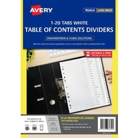 White Polypropylene Dividers, 1-20 Index - set Avery L7411/20 85620
