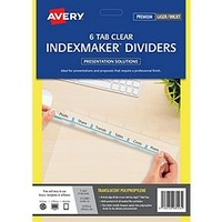 Indexmaker L7410 6 tab MULTI HOLE translucent Avery 5112081 - set 6 DIVIDERS