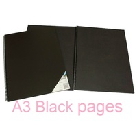 Visual Art Diary A3 Black page 45L bulk discounts 110gsm 90 pages Quill 10711