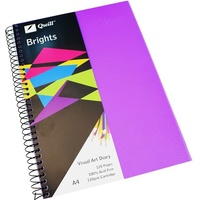Visual Art Diary  A4 White page 60L bulk discounts 110gsm 120 pages Quill Dark Purple Quill 10763
