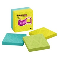 Post It Note 654 5SSFP Prints 76x76mm Pack 5 3m Super Sticky 76mm x 76mm, Assorted Colors with Printed Pattern