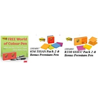 Post It Note 3M 654 5SSAN Super Sticky 2 Packs with Bonus Premium Pen