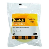 Tape Scotch Invisible Everyday 501 24mm x 66M Hangsell - each