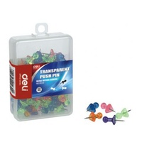 Push Pins Transparent Hangsell pack 100 Deli 0030