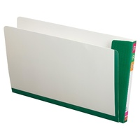 White Fullvue Shelf Lateral File with Green Tab and Spine, Foolscap - box 100