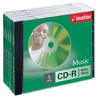 CDR 80 minute Imation MUSIC CDs 700mb - pack 5  66000029620