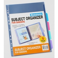 5 Tab Subject Organiser 38580 Beautone set 5 tabbed and punched for all ringbinders