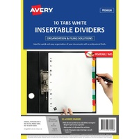 White Dividers A4 10 tab Avery 85690