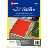 Divider A4 Avery 97570 Extra Wide 10 Tab Bright Manilla Set of 10