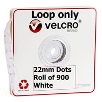 Velcro Loop Only Dots 22mm White Roll 900 V28806 45338