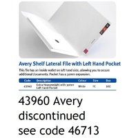 Avery 43960 Lateral file with inside left hand pocket white FC 320gsm box 20 Shelf Lateral Files obsolete item